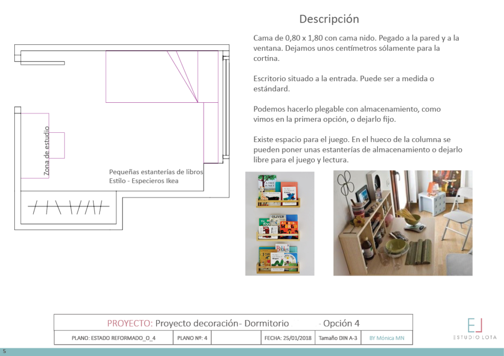 proyecto de decoración online de un dormitorio infantil