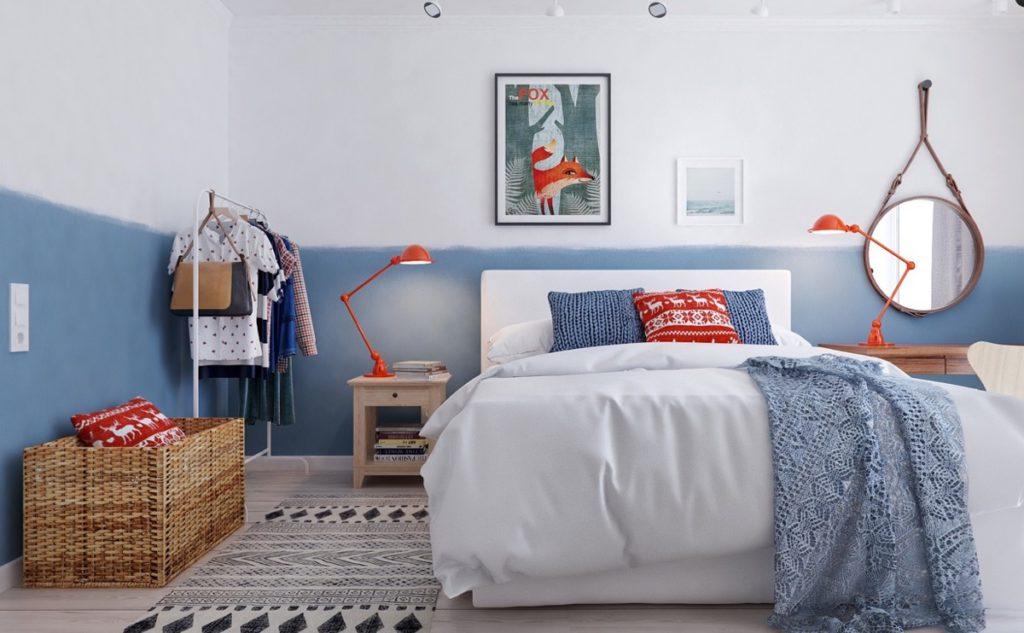 Dormitorio decorado en azul